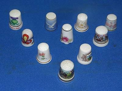 Lot of 10 Different Flower China Thimbles