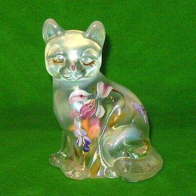 Fenton Clear Opalescent Art Glass Cat Handpainted by D. Frederick