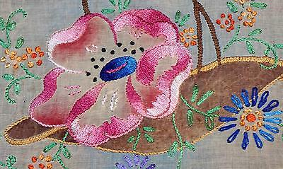 Flower Basket Hand Embroidered Boudoir Pillow Top