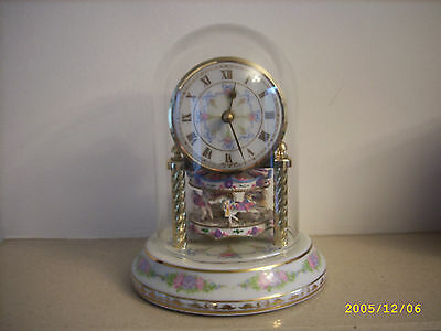 Mantle clock Germany Porcelain Carousel merry go round.
