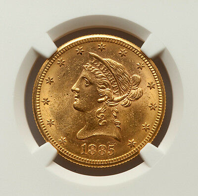 1885 S $10 Gold Liberty Eagle NGC MS62 Golden Blazer 4399878-007