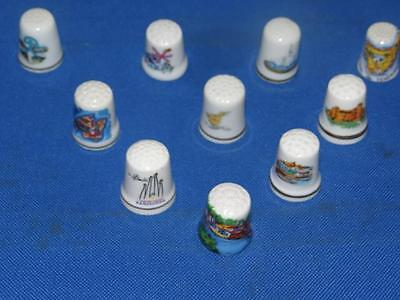 Lot of 10 Different Country/Places China Thimbles