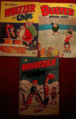 3x ANNUALS Whizzer & Chips 1984 1987 & Buster 1985 FLEETWAY IPC comic books HB