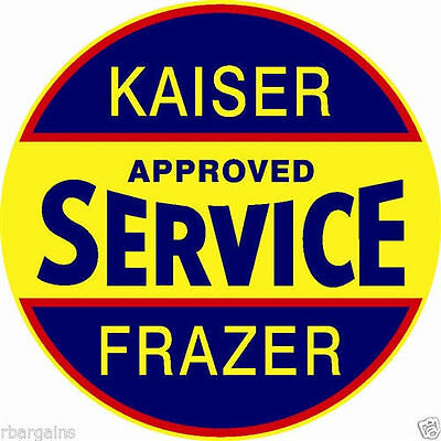 "Kaiser Frazer Service Large 25.5"" Round Metal Steel Sign Vintage Garage Dealer"