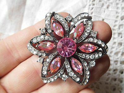Dazzling Vintage 1950s Pink Crystal Flower Brooch signed WEISS