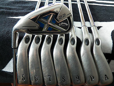 Lh Callaway X22 Golf Iron Set 4-P+A Steel Uniflex Very Nice Set!