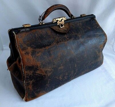 """Nice Antique Leather Doctor's Bag - 10"""" Tall x 15"""" Wide x 7"""" Deep"""