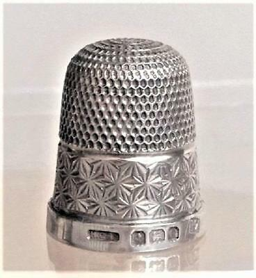1927 HALLMARKED SILVER THIMBLE size 17 ~ H G & S ~ Henry Griffiths & Sons ~ vgc