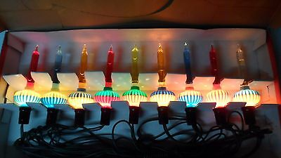 Old 9 Light C-6 NOMA BUBBLE LIGHT SET w SLUGS in ORIGINAL GIRL BOX w CORD #14