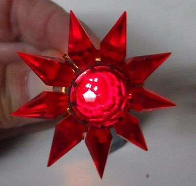 1930s C-6 Single Row MATCHLESS STAR Glass Christmas Light - SLIP BACK - RED