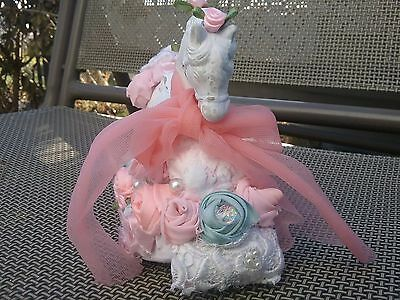 SHABBY pink chic CAROUSEL ROCKING HORSE HANDPAINTED roses musical nursery new!