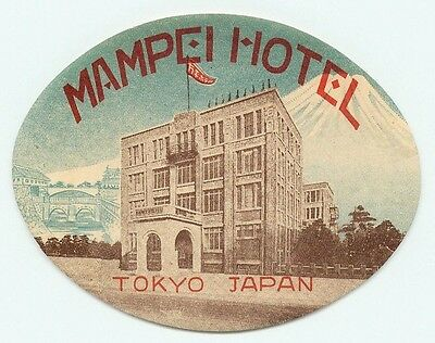 Tokyo Japan Mampei Hotel Great Old Luggage Label