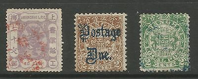 CHINA-SHANGHAI. 3 Early Local Stamps. SG: 75; D133 & 142. In fine condition.