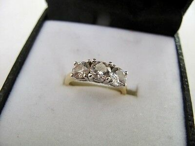 9ct Gold On 925 Sterling Silver Clear Gemstone Trilogy Ring Engagement Size UK O