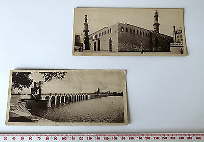 Pair Printed Postcards - Sepia - Egypt Delta Barrage & Mosque
