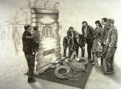 """Berlin Wall Memorial Drawing - """"Only Dictatorships Build Fences"""" Theme"""
