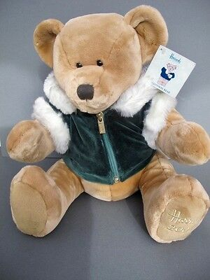 New With Tags HARRODS 2001 Christmas BEAR Collectable Teddy Velvet Jacket 13''