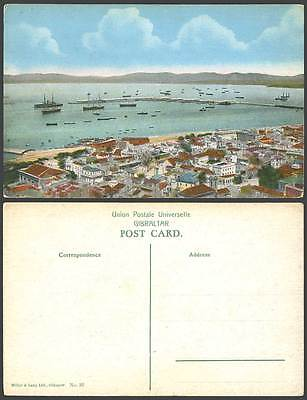 Gibraltar Old Colour Postcard Harbour, Ships & Boats, Pier Panorama General View