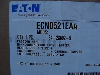CUTLER HAMMER ECN0521EAA Size 2 Magnetic Starter 3PH 208V Coil Never Electrified