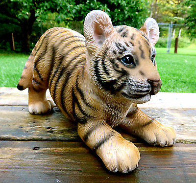 TIGER FIGURINE BABY PLAYING STATUE 12 in. AFRICAN ANIMAL JUNGLE HOME DECOR CAT