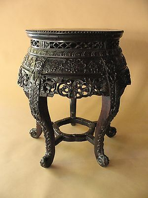 old Estate Chinese inlaid stone TABLE DISPLAY STAND carved hardwood furniture +