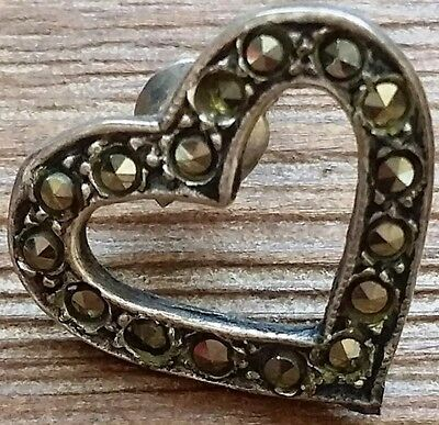 Vintage Sterling Silver Earring (Only 1) - Mid-Century Heart Design w/ Crystals