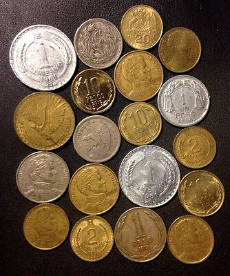 Old Chile Coin Lot - 1921-Present - 19 Great Vintage Coins - Lot #F19