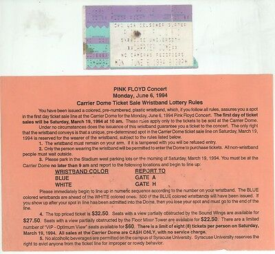 Pink Floyd 6/6/94 Syracuse NY Concert Stub, Carrier Dome Ticket Lottery Rules!
