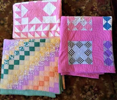 3 Antique Beautiful Hand Stitched Quilts Need Small Repairs Or As Is