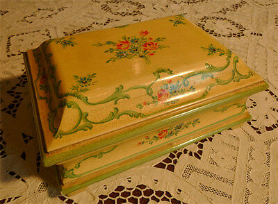 ~Antique Italian Hand Painted Tole  Footed Jewelry Box~Flowers & Scrolls~