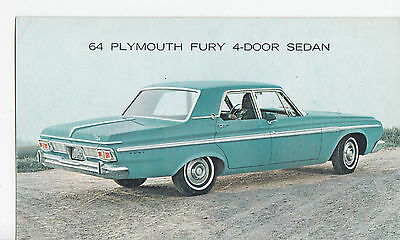 1964 PLYMOUTH Fury 4-Door Sedan CHRYSLER Advertising Postcard