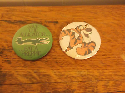Save Alligator Eat Preppie Disney Tigger Winnie Pooh lot 2 pin button