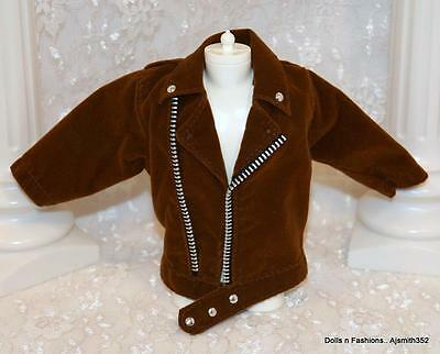 Barbie Ken Doll & Friends Clothes Fashion Brown Suede Look Style Jacket Coat