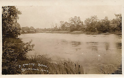 A Pretty Spot on the River STIRLING Ontario Canada 1913 Real Photo Postcard