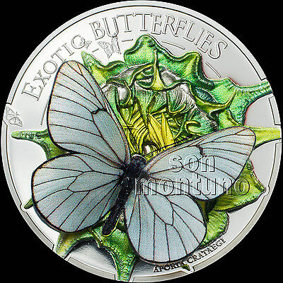 2017 Mongolia - EXOTIC BUTTERFLIES in 3D Silver Proof Coin - BLACK VEINED WHITE