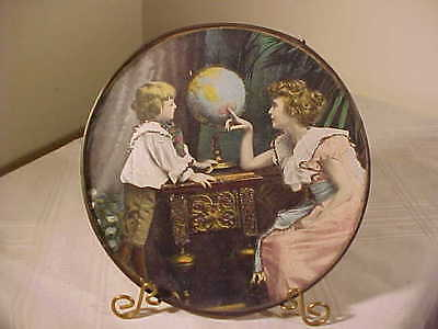 "Antique Flue Cover  "" MOTHER TEACHING CHILD"" SPARKLES,  Stove Pipe Cover GERMANY"