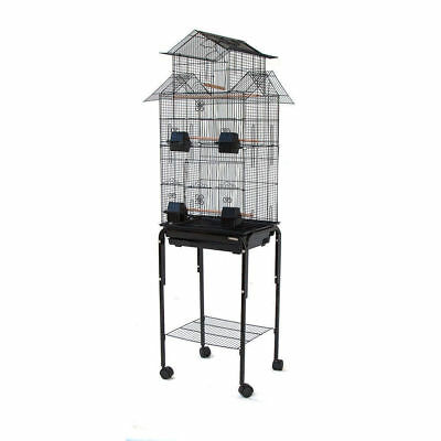 High House for Canary Cockatiel Parakeet Lovebird Finch Bird Cage with Stand