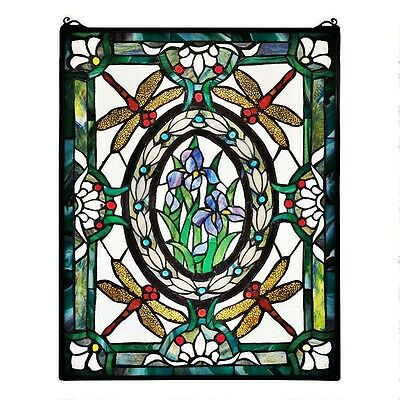 Authentic Victorian Enameled Dragonfly/ Lillies Floral Stained Glass Window Art