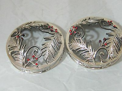 2 Yankee Candle Company Tumbler Toppers Illuma-Lid Silver Evergreen Christmas