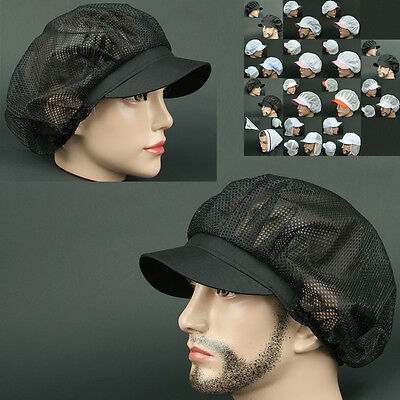 COOK full Mesh BLACK chef catering baker Kitchen food factory service worker Hat