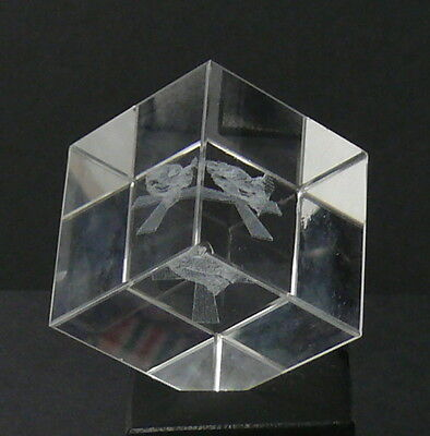 """Solid Glass Cube    1-1/2"""" Cube   With Angle Corner Edge   Embedded Designs"""