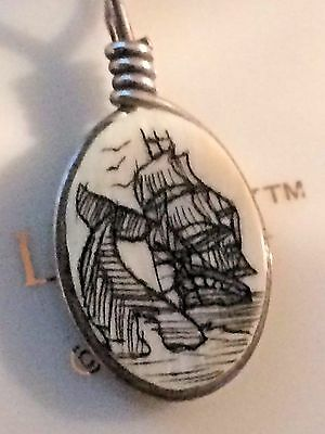 Vintage Whale & Ship Scrimshaw Pendant 2 Pr Earrings Blue Glass & Avon ST Clipon