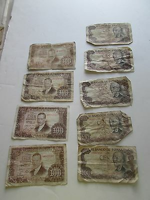 (9) Spanish Bank Notes, Various Denominations, Various Years, Circulated Cond.