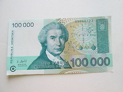 (1) Croation Bank Note, Various Denomination, Various Years, Circulated Cond.