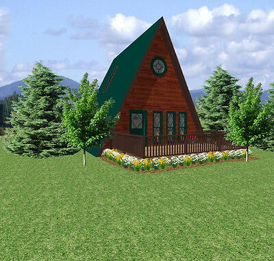 Small A-Frame House Plans  24 x 26 with Free Greenhouse Plans