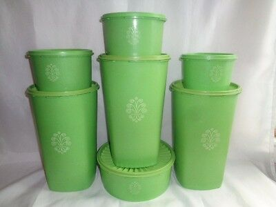 Vintage Tupperware Apple Lime Green 7 Pc  Canister  Set