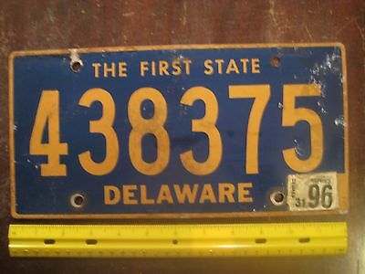 License Plate, Delaware, 1996, State Motto: The First State, Passenger, 438375