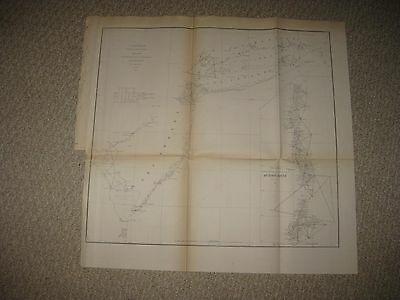 Rare Early Antique 1855 New Jersey Long Island New York Coast Hudson River Map