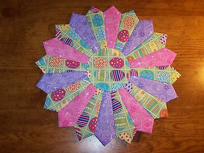 """Handmade Quilted Easter Glitter Eggs Table Topper, Candle Mat, Placemat, 12"""""""