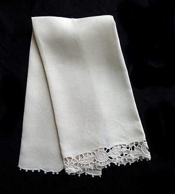Antique Italian White Linen Towel Superb Hand Embroidery Cutwork (6 Available)